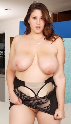 Angel DeLuca frees huge saggy tits from black lingerie