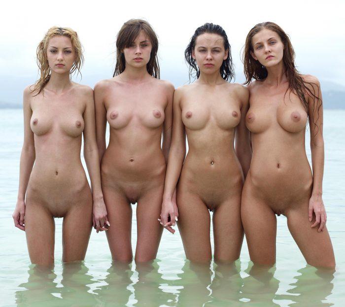 Beautiful young girls in water