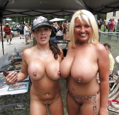 Blonde and brunette with big breast on public