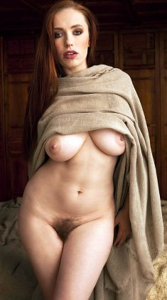 Busty Redhead Babe with Hairy Pussy
