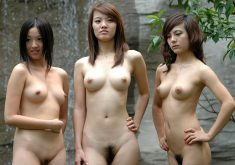 Asian girls with hairy pussy show up completely naked outdoors