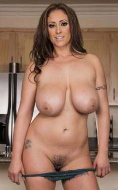 Amazing MILF with nice big tits shows his hairy pussy