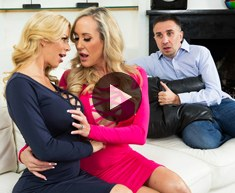 Busty blondes Brandi Love and Alexis Fawx provide a home service