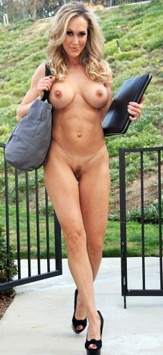 Busty mature blonde with hairy pussy on public