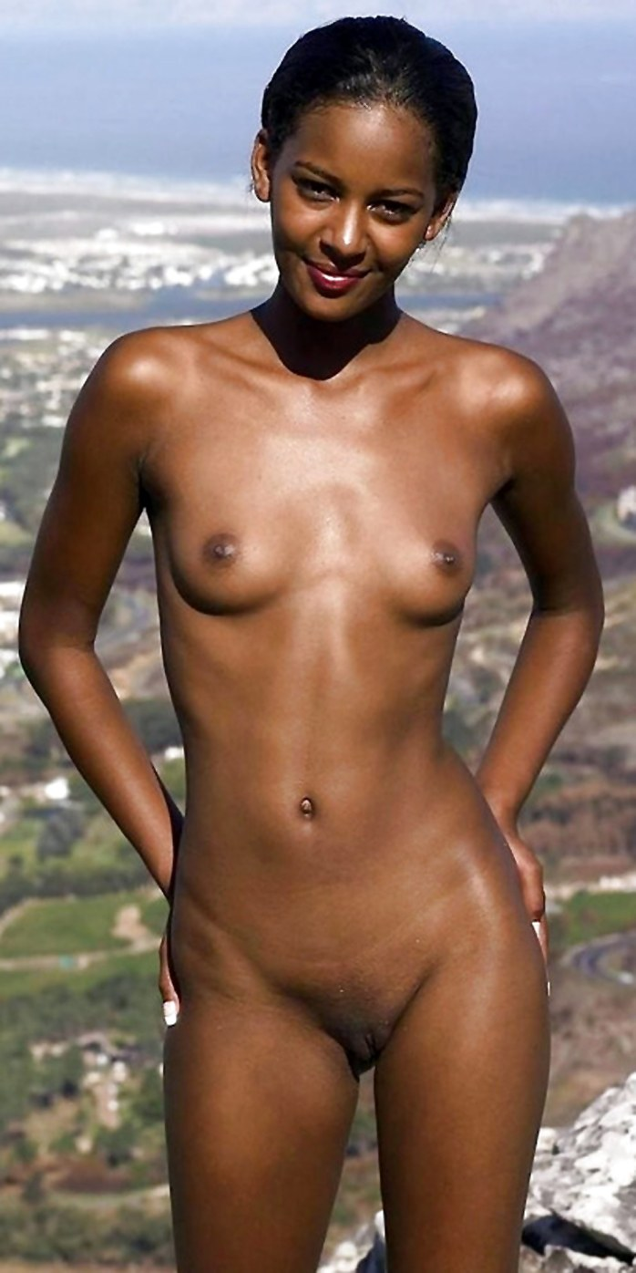 Slim black girl with small tits