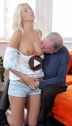 Young blonde girl fucks with old man