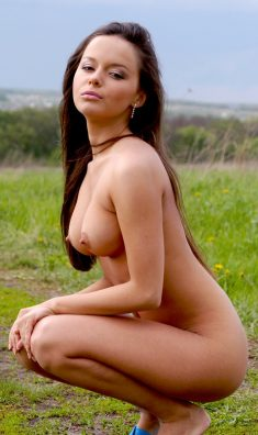 Beautiful brunette naked in the field