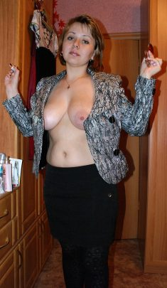 Elegant woman with nice breasts