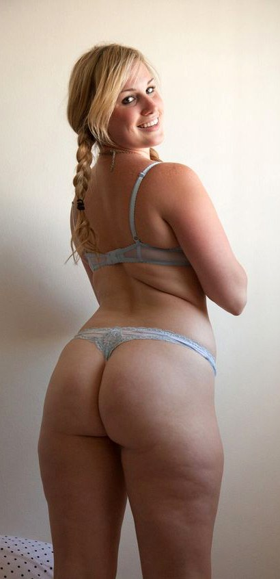 Smiling blonde with big ass