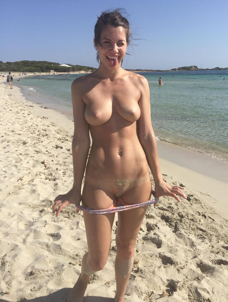 Flashing all of it in the beach