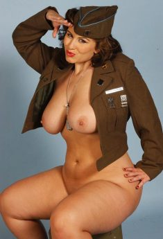 BBW London Andrews in military clothing