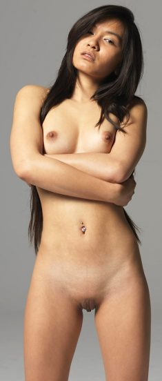 Naked Asian girl with long hair