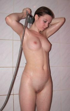 A young girl in the shower