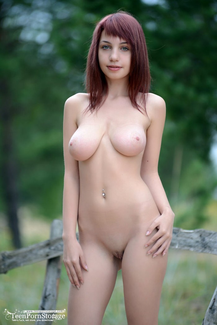 Amazing girl shows her big full breasts and a beautiful slim young body