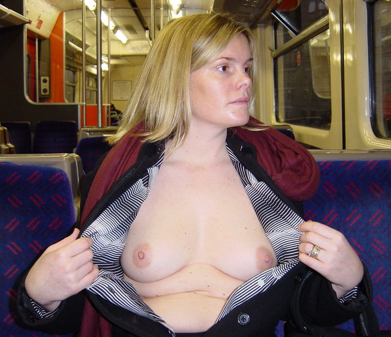 Shows the breast in the tram