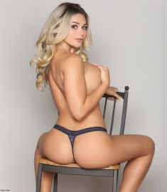 Busty Blonde Tahlia Paris Chair and Underwear