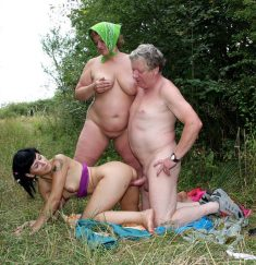 Old woman and old guy fuck with young girl in the nature
