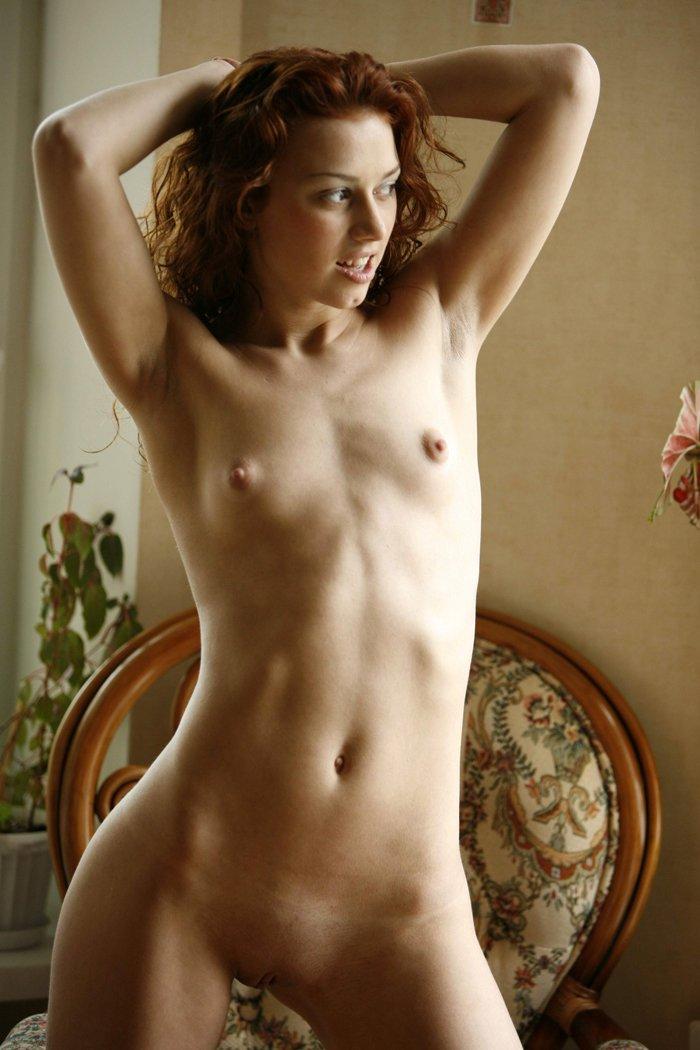 Redhead small breasts