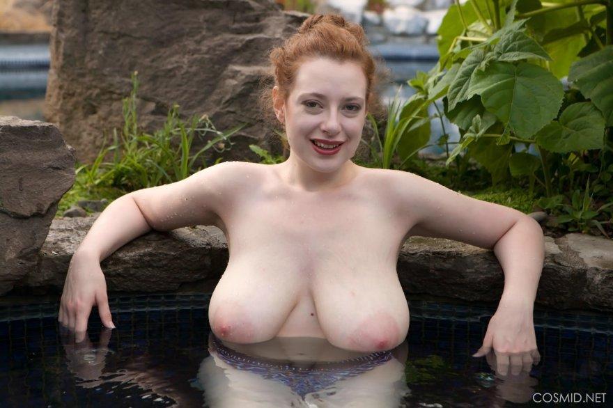 Beautiful redhead Misha Lowe having huge natural tits