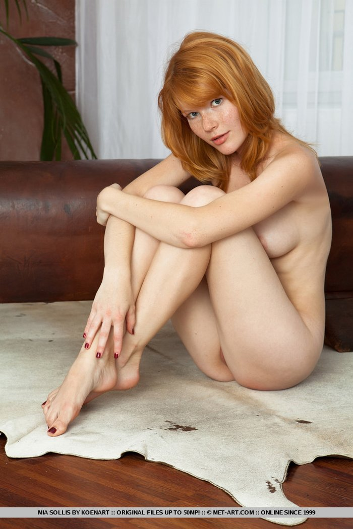 Freckled redhead Mia Sollis shows her shaved pussy - Image 1