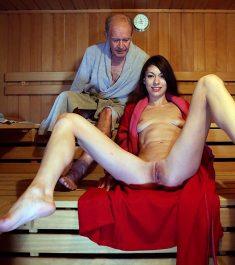 Slim Russian brunette Arwen Gold fucks with grnadpa in sauna
