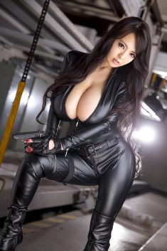 Huge tits in leather