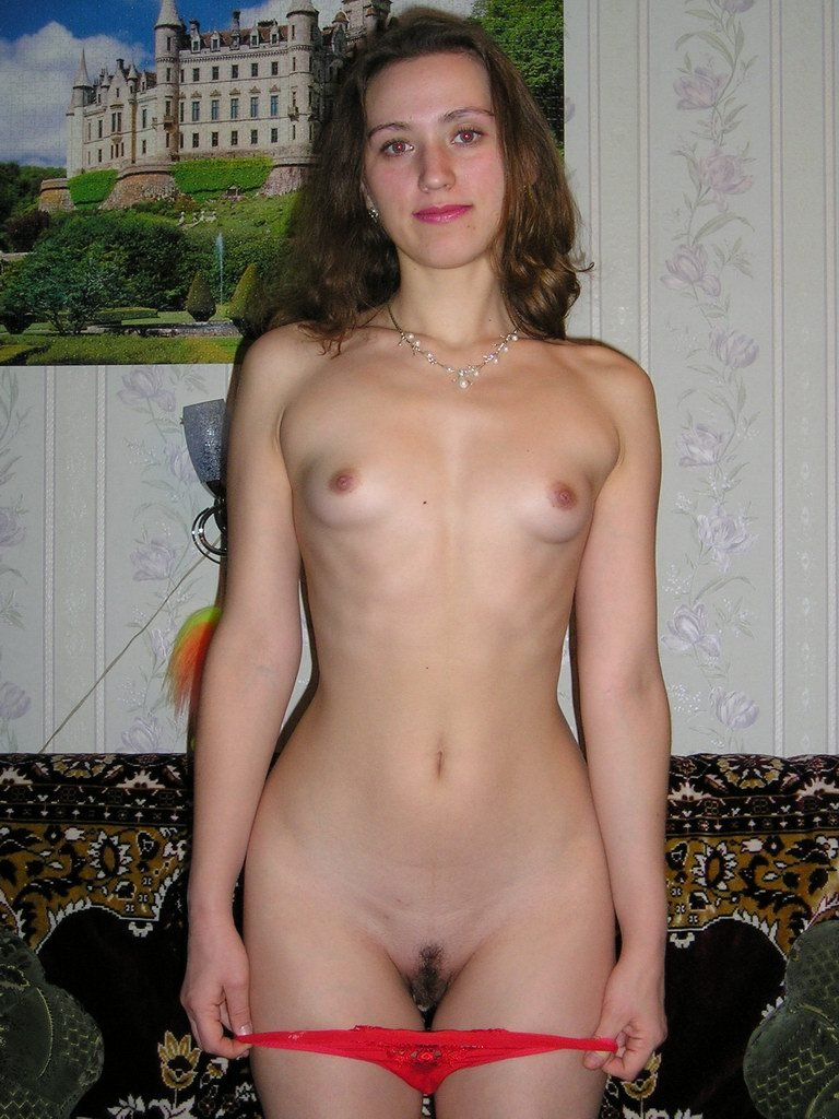 Amateur brunette with tiny tits and nice hairy pussy - Image 1