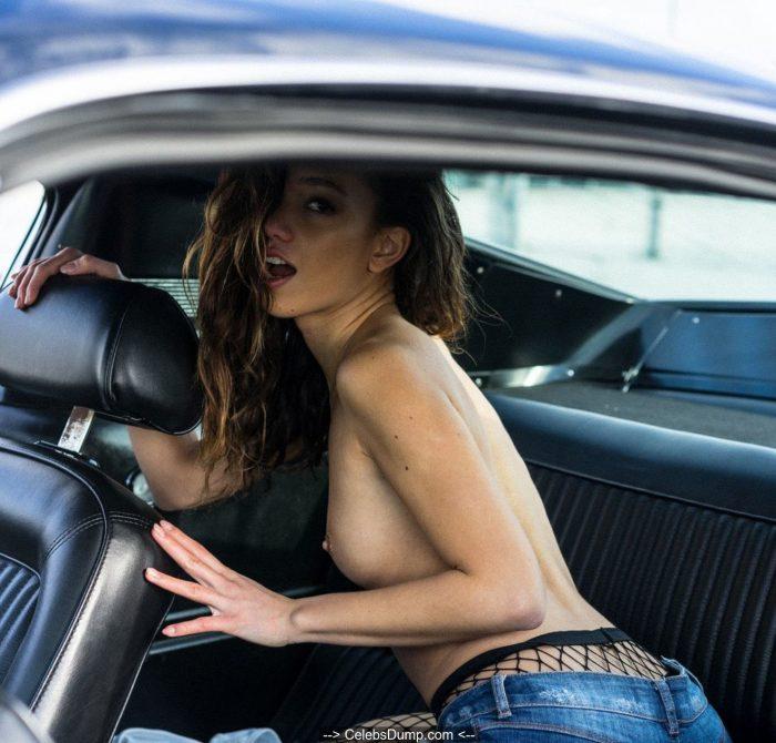 Kitrysha topless in a car