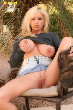 Hot MILF Rachel Aziani bares her big breasts outside on a chilly morning