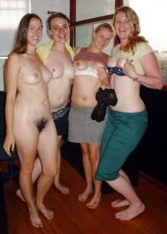 Nude girls and women in group