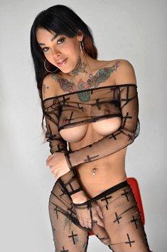 Sexy Ebony Tranny Adriana Lynn Rush shows her beautiful tgirl body and large shemale cock wearin ...