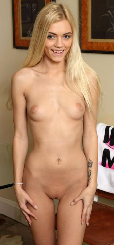 Slim blonde Alex Grey naked and shy