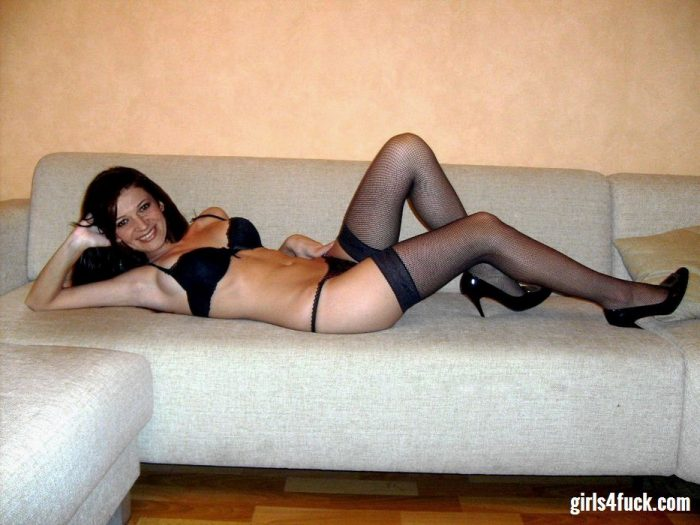 Pretty brunette wearing black lingerie waiting for sex