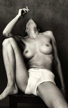 Charlotte McKinney smoking topless