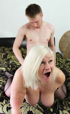 Blonde granny with big tits Lacey Starr fucks with young boy