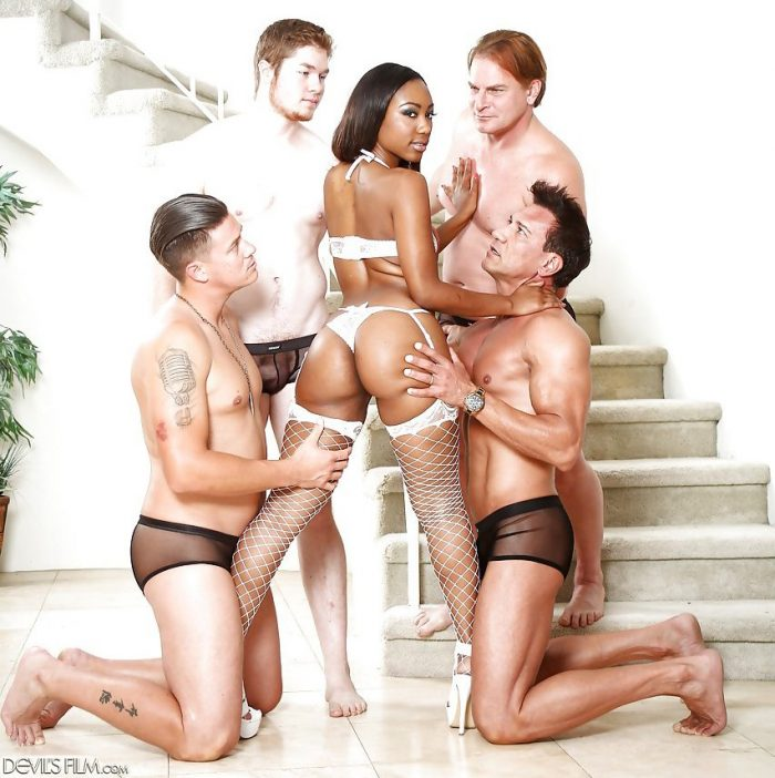 Black whore Chanell Heart banging a group of white hunks at same time