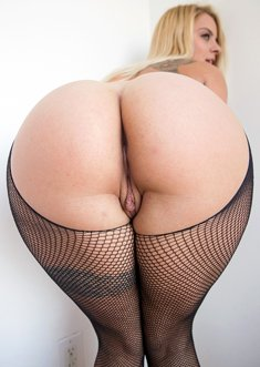 Blonde woman Cameron Canada in sexy pantyhose flaunting her huge ass