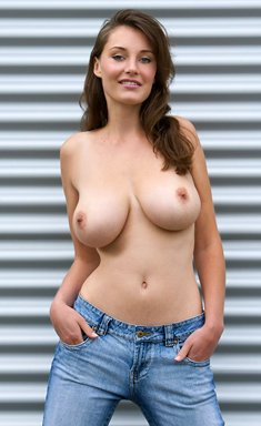 Brunette in jeans Ashley shows amazing big tits and nice shaved pussy