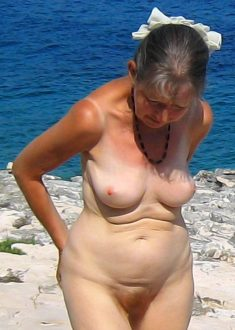 Senior women on nudist beach