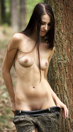 Slim brunette Vanessa Angel removes shorts and spread pussy in the woods