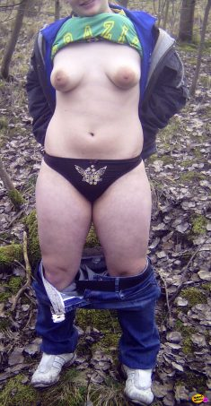 Amateur girl topless in the woods