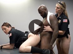 Mature policewomen fucking on the table with a black man
