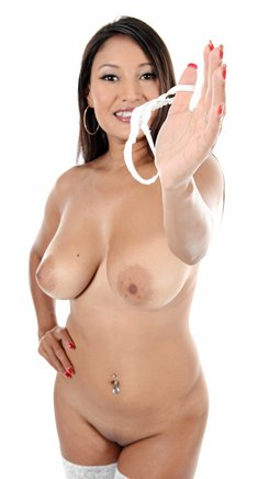 Asian girl with big tits Cristina Miller takes off white underwear and fingering her vagina