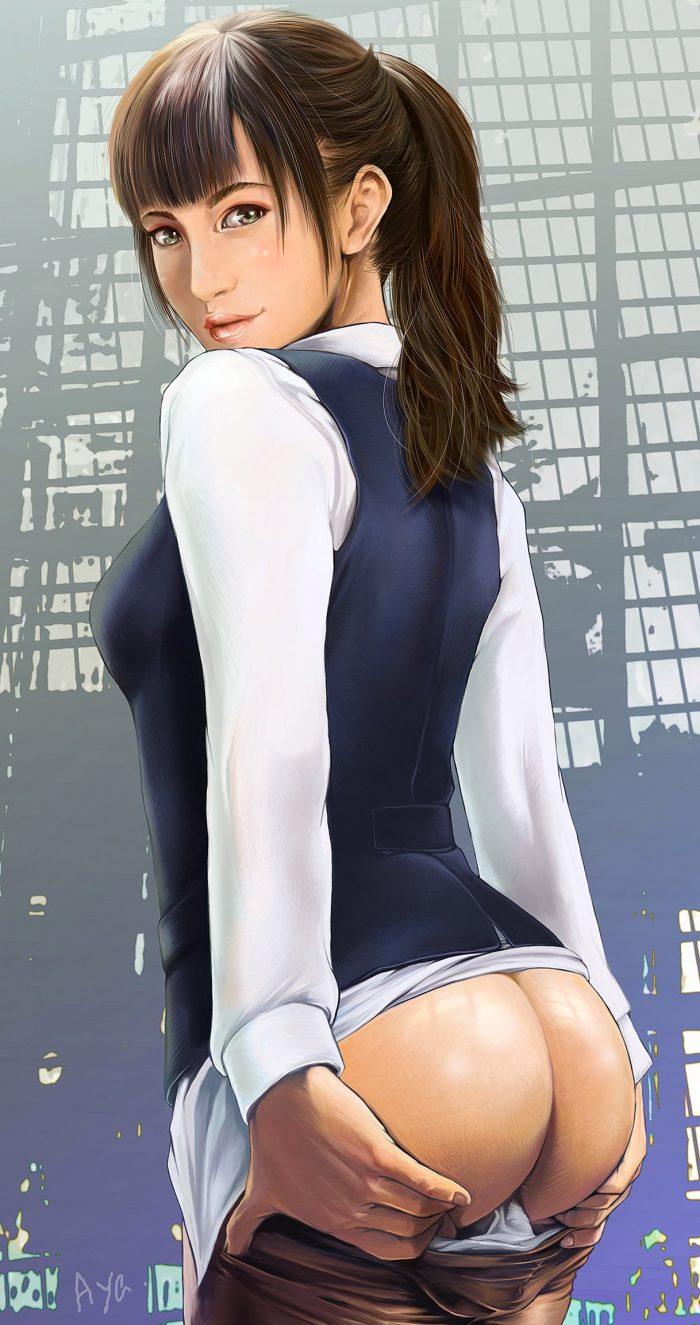 Pretty brunette showing her sexy ass