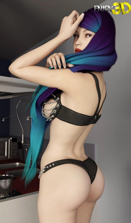 3D girl posing in sexy underwear