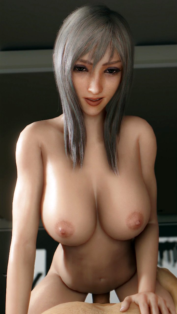 3D girl with big tits rides on cock