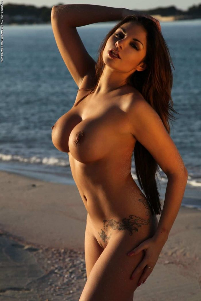 Gorgeous brunette with big tits on the beach