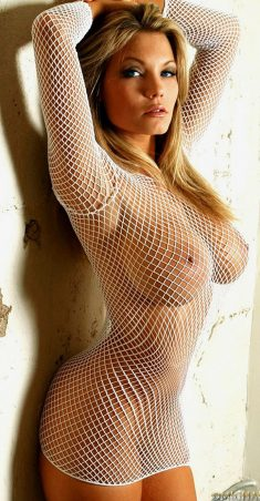 Boobs behind fishnet