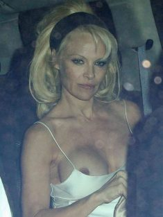 Pamela Anderson Flashing Boob Outside Chateau Marmont Restaurant