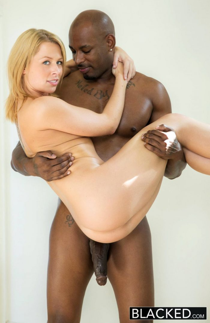 Blonde Zoey Monroe barely takes big black cock in her ass